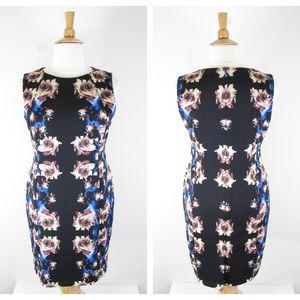 Tahari Plus Size Black Rose Floral Sheath Dress